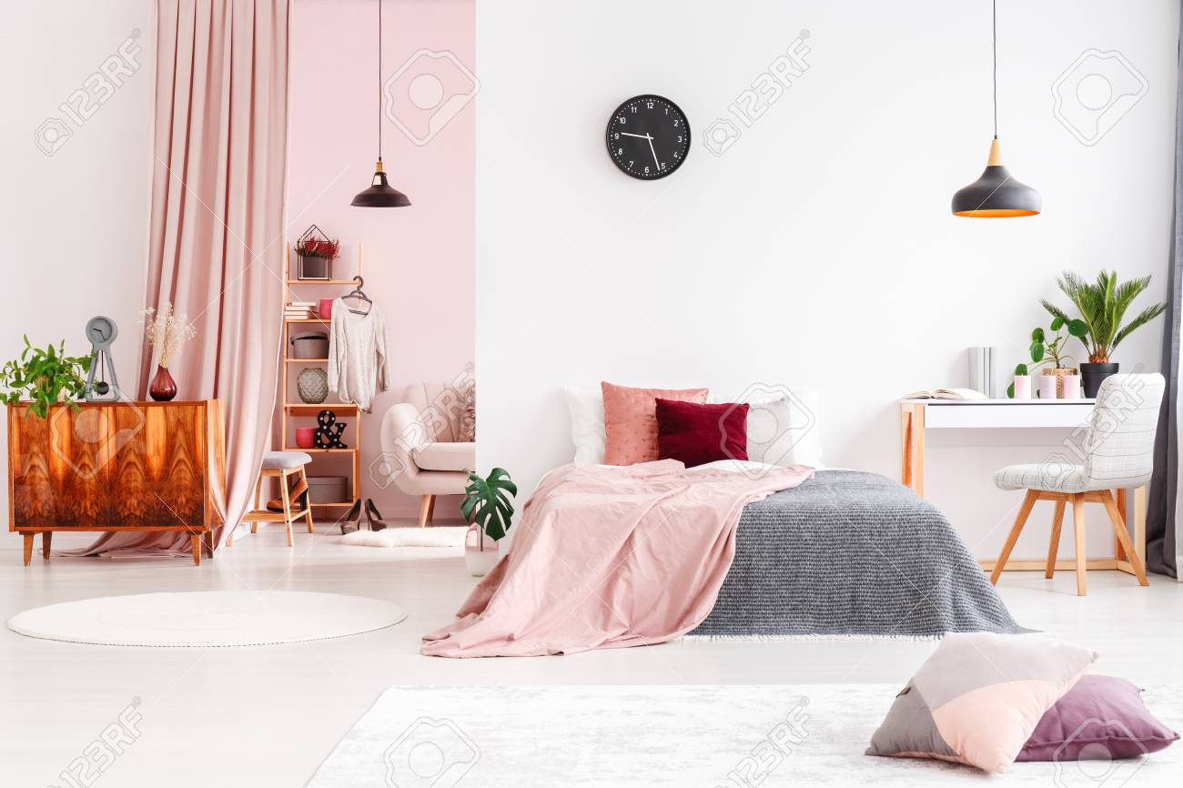 Spacious Bedroom Interior With Walk In Wardrobe Behind Pastel Stock Photo Picture And Royalty Free Image Image 97182771