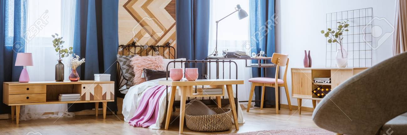 Bedroom Interior For A Teenage Girl With Wooden Furniture ...