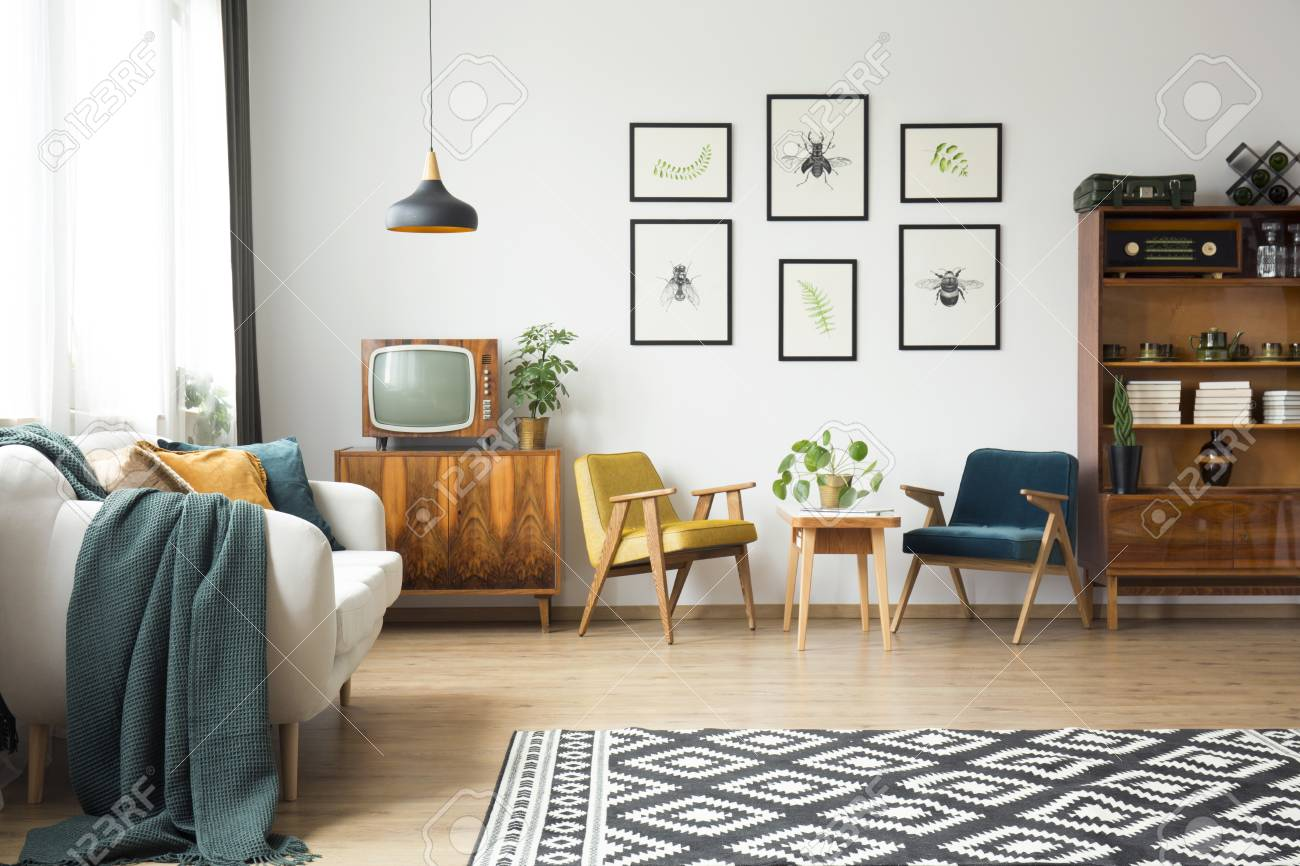 Stock photo vintage furniture and old items in a loft living room interior