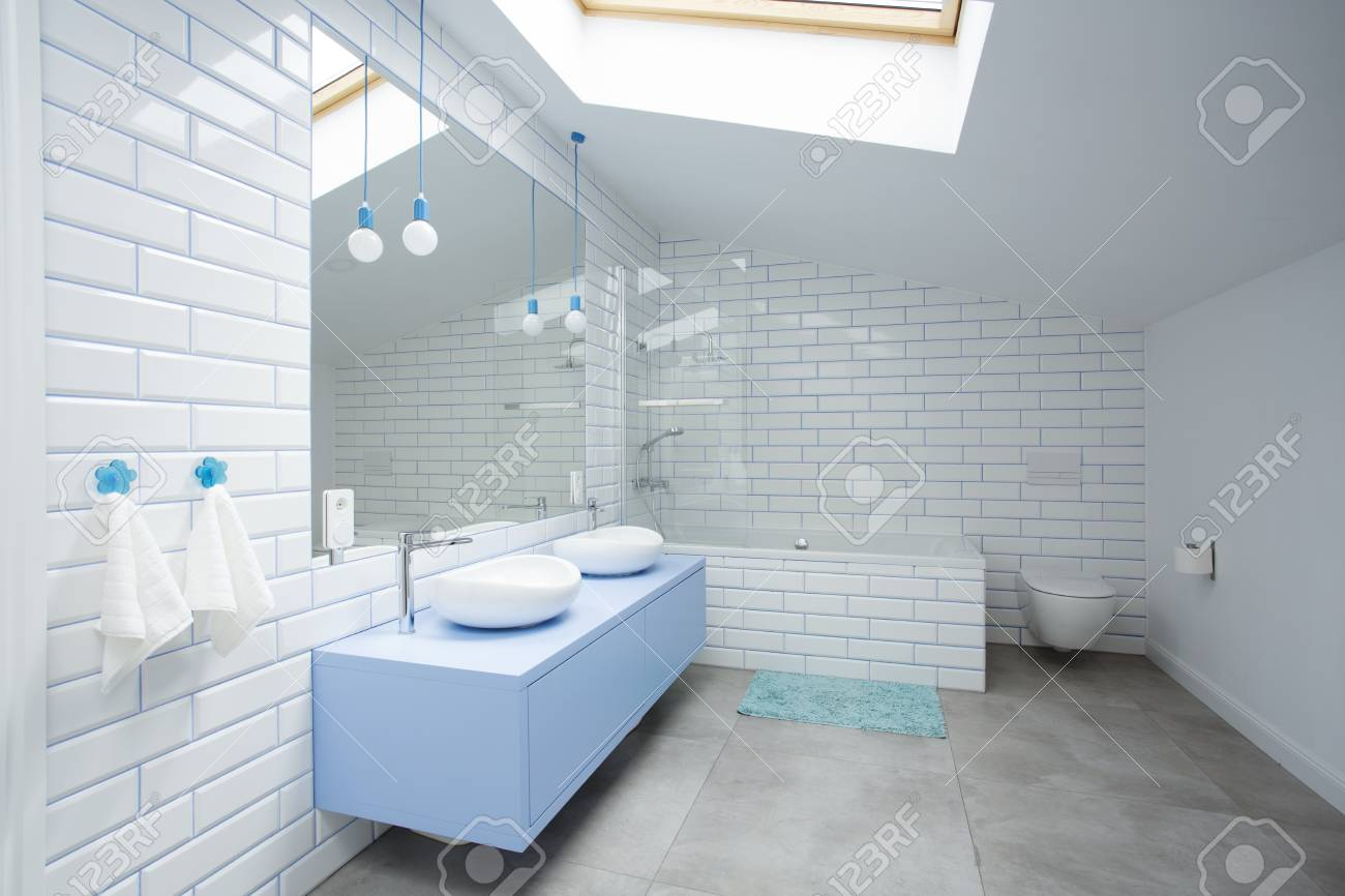 White Brick Wall In Bathroom Interior In The Attic With Mirror ...