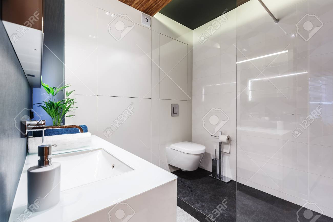 Modern Bathroom.White Sink In Modern Bathroom Interior With Toilet Glaze And
