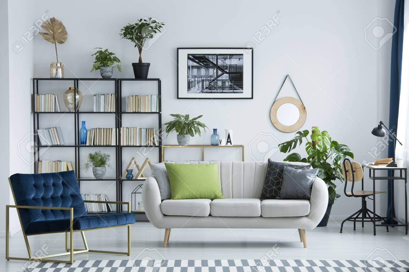 Image of: Grey Couch With Decorative Pillows Standing In A Bright Living Stock Photo Picture And Royalty Free Image Image 98043713