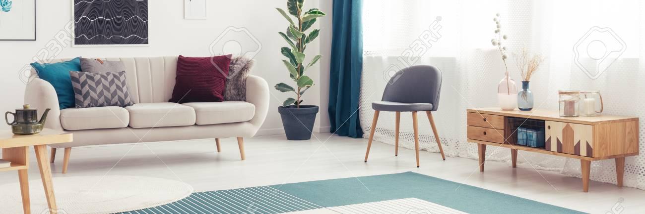 Cupboard Chair Wooden To Living Next Grey Room In Cozy OXuZiPk