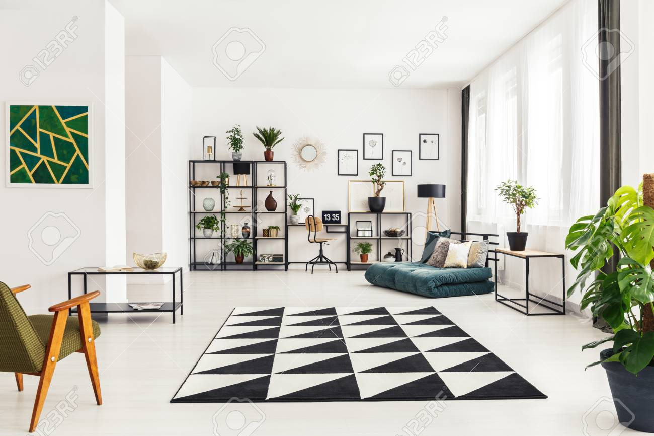 Black And White Rug In A Living Room Interior With Retro Armchair ...
