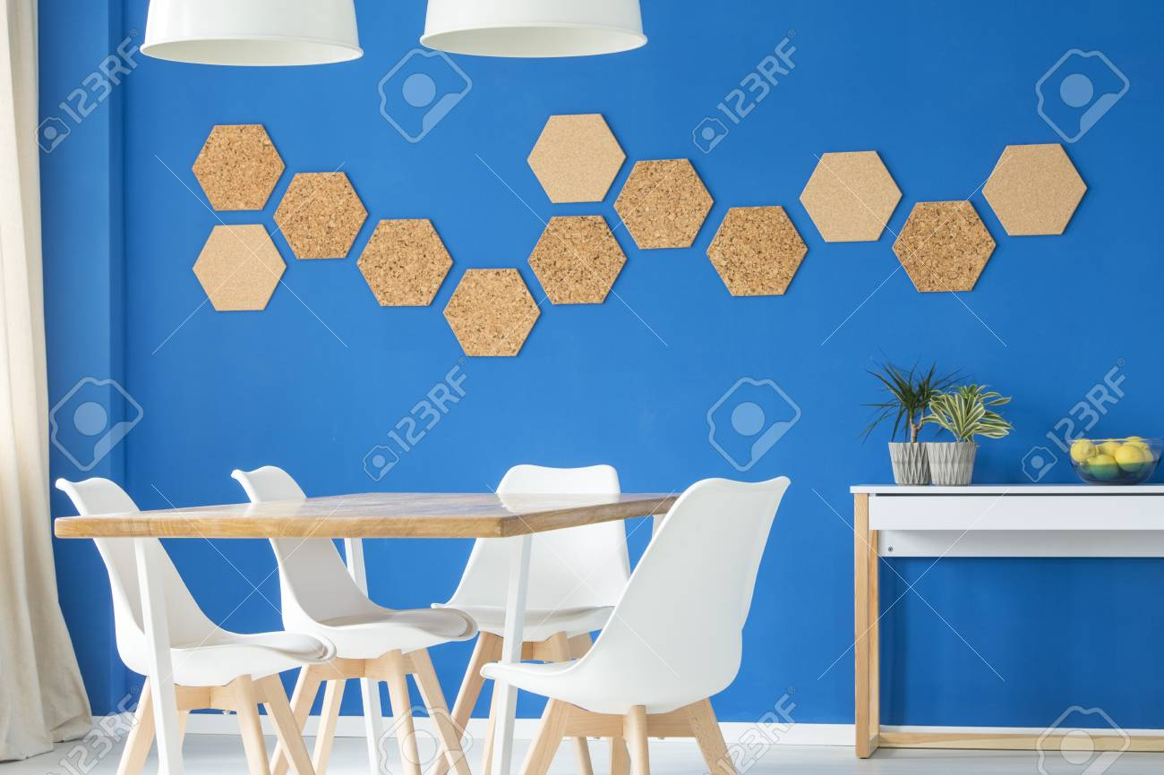Superb Blue Modern Interior With Chairs Plants On The Dining Table Pabps2019 Chair Design Images Pabps2019Com