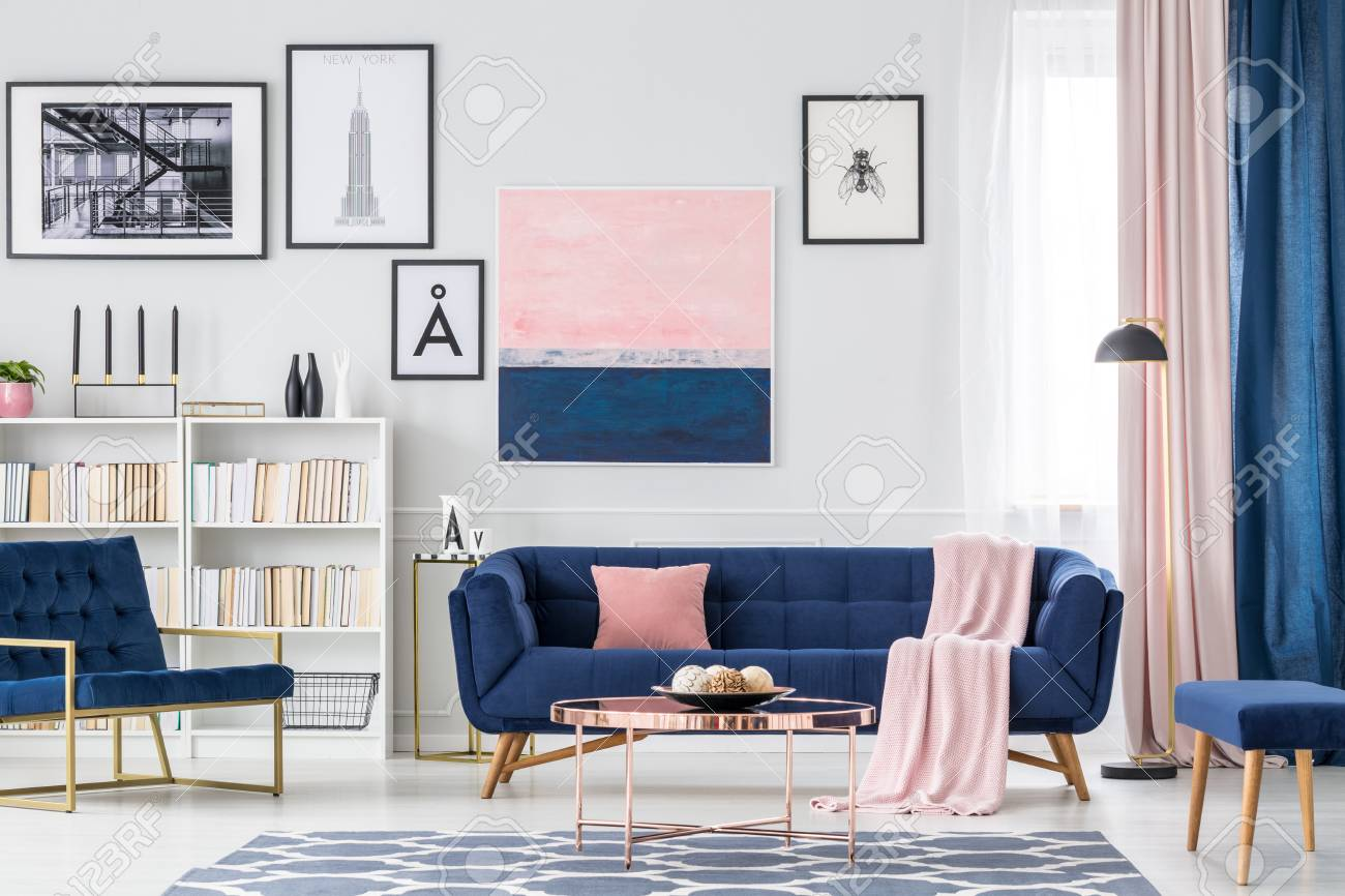 White, Blue And Pink Living Room Interior With Couch, Paintings ...
