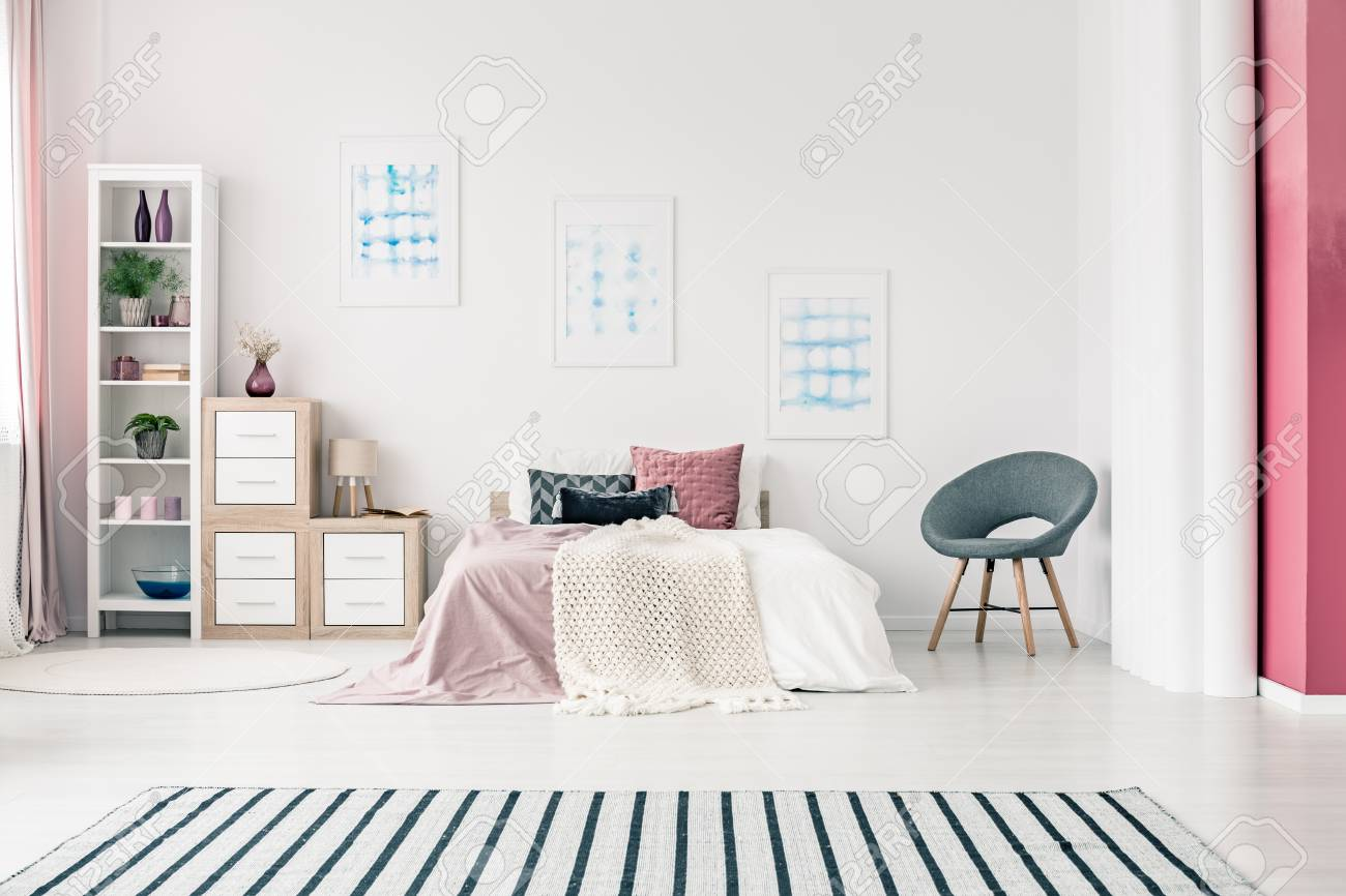 Light Spacious Bedroom Interior Design With Big King Size Bed Stock Photo Picture And Royalty Free Image Image 97947798