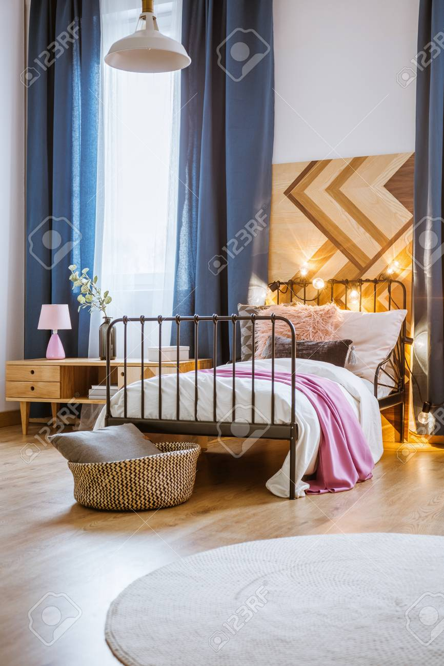 Metal Bed In Modern Bedroom Interior With Blue Curtains, Wooden ...
