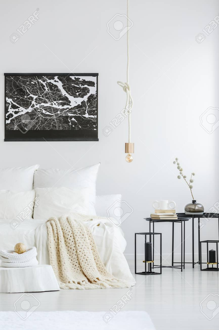 Black City Map Poster A Creative Rope Pendant Light And Industrial Stock Photo Picture And Royalty Free Image Image 98137918