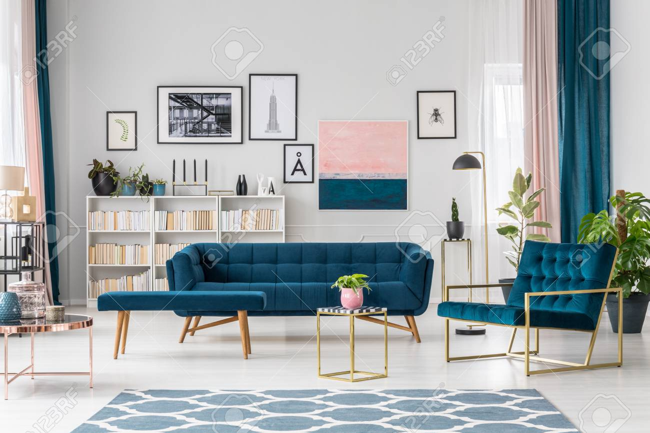 Modern Living Room Interior With Blue Sofa And Armchair Patterned Stock Photo Picture And Royalty Free Image Image 98264309