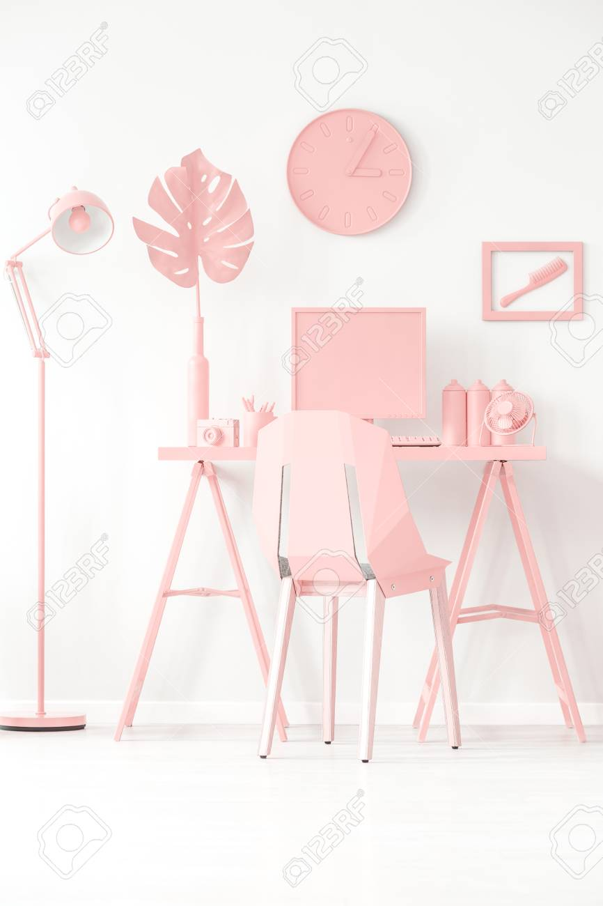 Fantastic Pink Workspace Area Interior Concept With Desk Chair Computer Alphanode Cool Chair Designs And Ideas Alphanodeonline