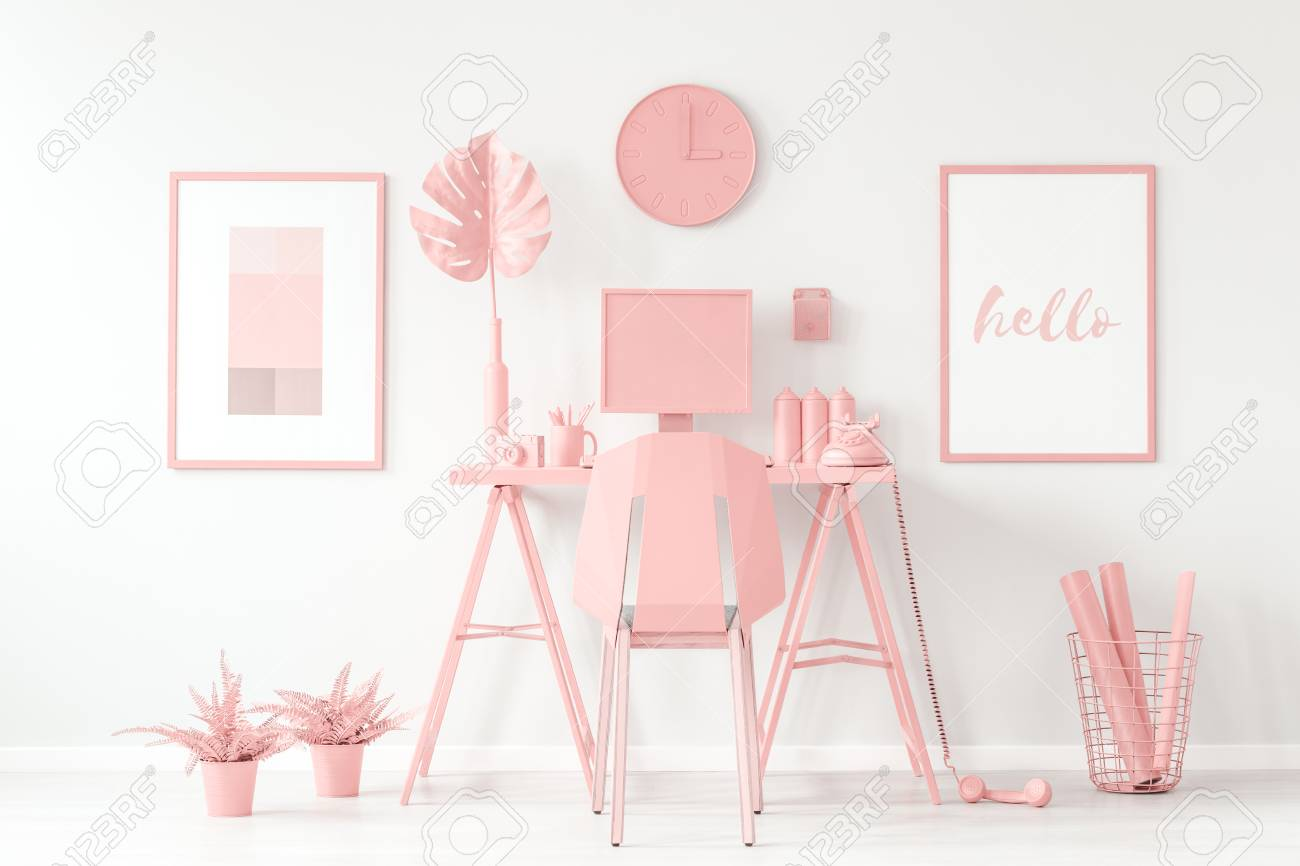 Pastel Pink Aesthetic Feminine Workspace Concept With Cute Stock Photo Picture And Royalty Free Image Image 98996329