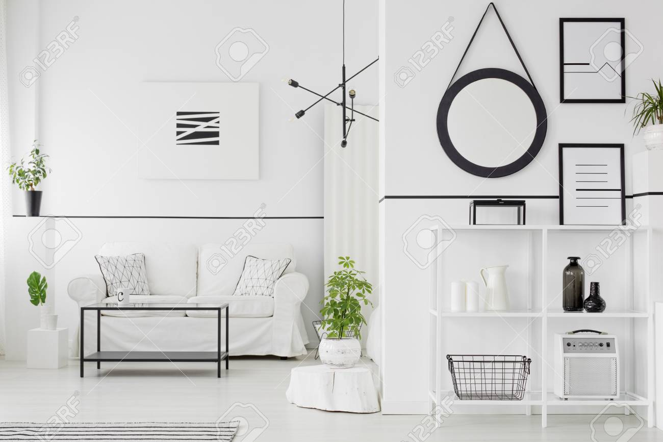 . Black and white living room interior with couch  table  shelves