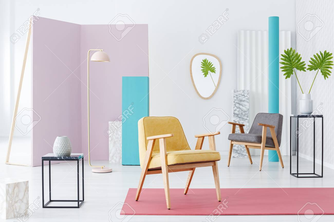 inspiration furniture catalog. Inspiration For A Modern Furniture Catalog With Yellow Armchair On Pink Rug In Colorful T
