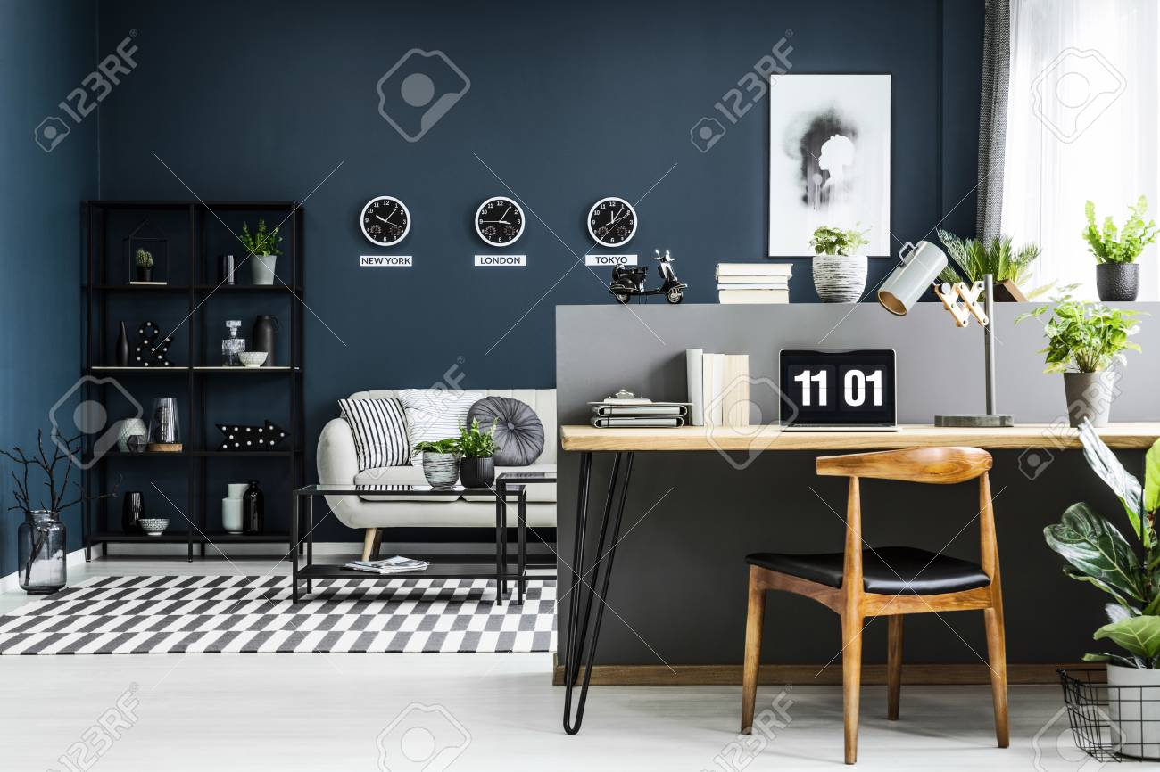 Open Space Home Office Interior With Desk Chair Plants And Stock Photo Picture And Royalty Free Image Image 101895265