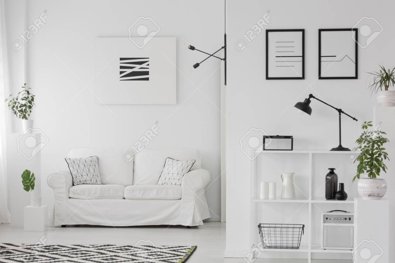 . Elegant living room interior with a sofa  posters  shelves  ornaments