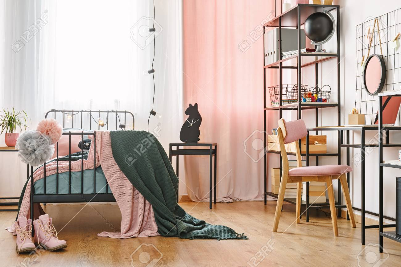 Industrial Black Furniture And Cute Pink Textiles In A Teenage Stock Photo Picture And Royalty Free Image Image 101313603