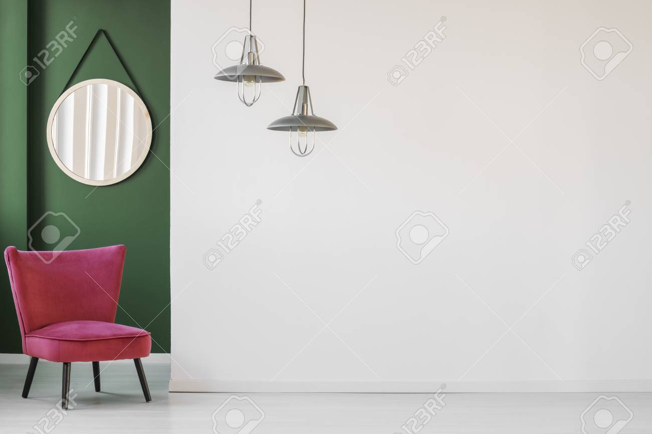 Minimalist Living Room Interior With White Empty Wall Comfortable