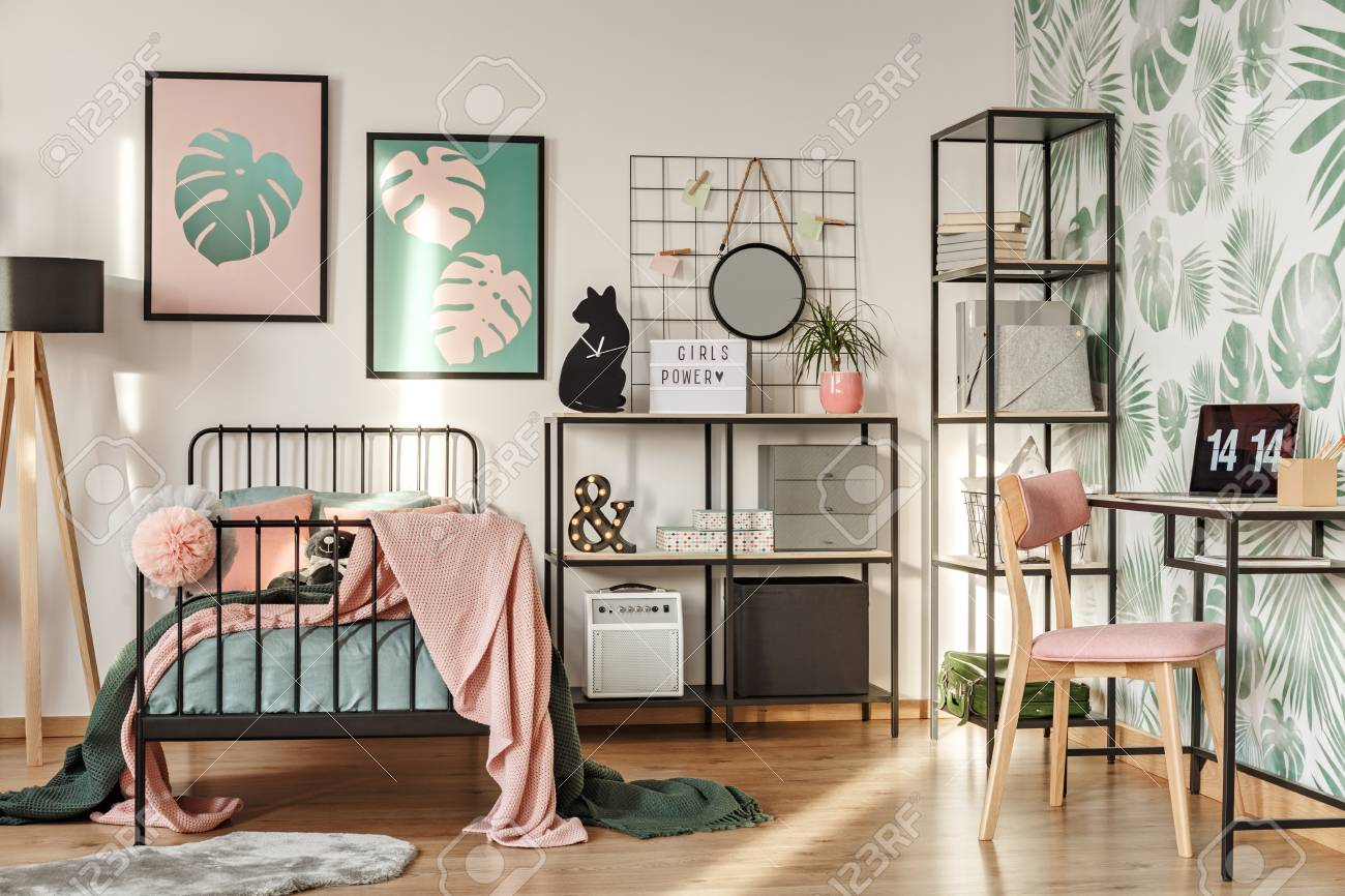 Framed Posters On A White Wall Above A Cozy Twin Bed With Pillows Stock Photo Picture And Royalty Free Image Image 101345225