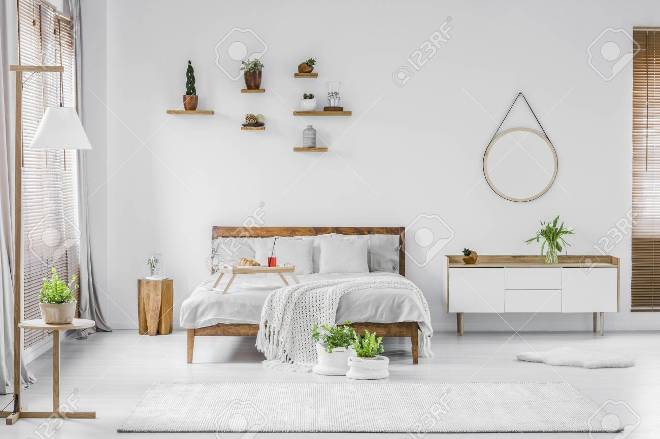Marvelous Plants In Natural White Bedroom Interior With Bed Between Wooden Gmtry Best Dining Table And Chair Ideas Images Gmtryco