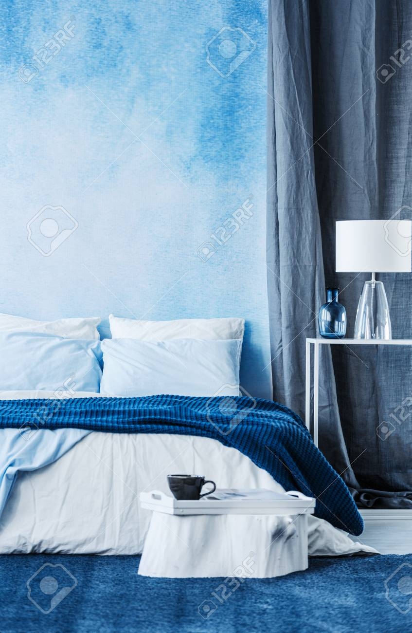 Blue Watercolor Paint On The Wall In Modern Bedroom Interior.. Stock ...