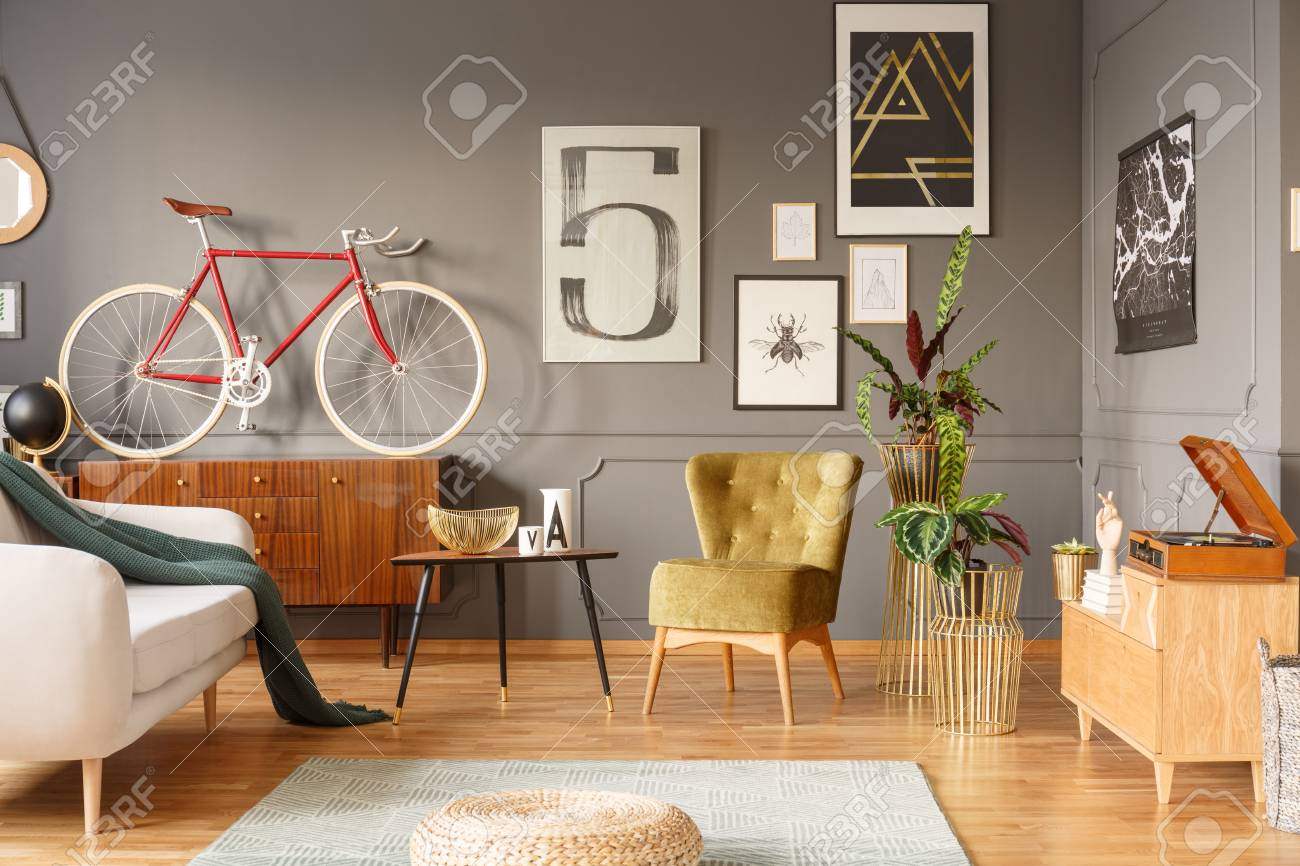 Unique vintage living room interior with homey feeling, mixture..
