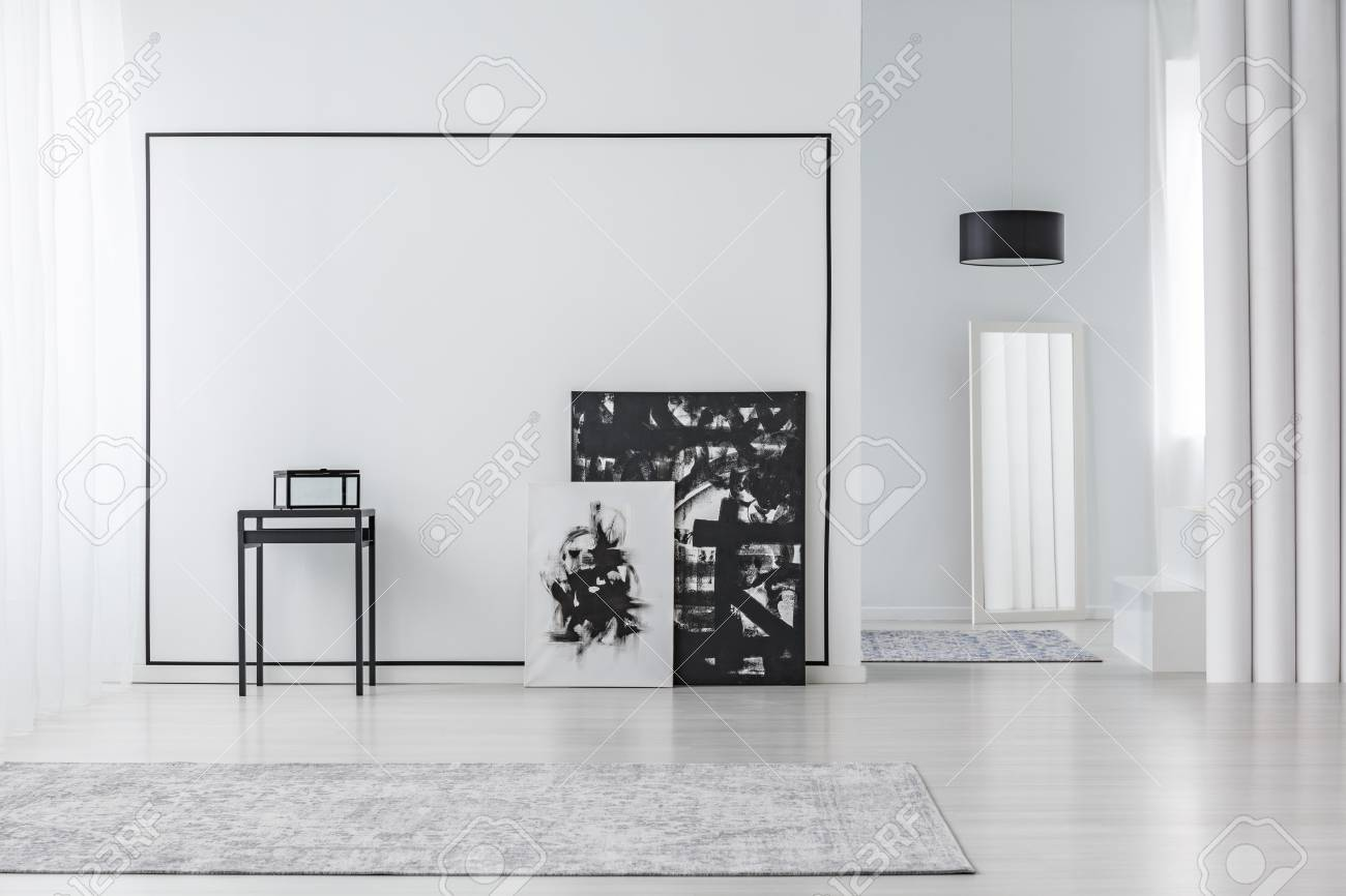 Black And White Painting In Minimal Living Room Interior With ...