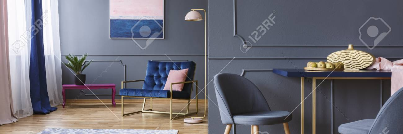 Dark Open Space Living Room Interior With Royal Blue Armchair