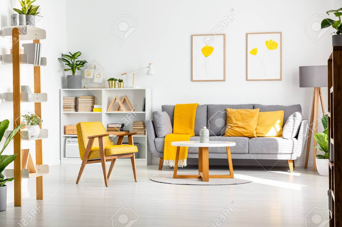 Real Photo Of A Scandi Living Room Interior With Gray And Yellow