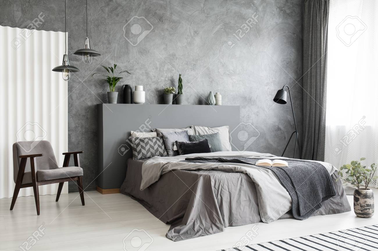 Modern Grey Bedroom Interior With Big Bed With Pillows And Linen Stock Photo Picture And Royalty Free Image Image 104518401