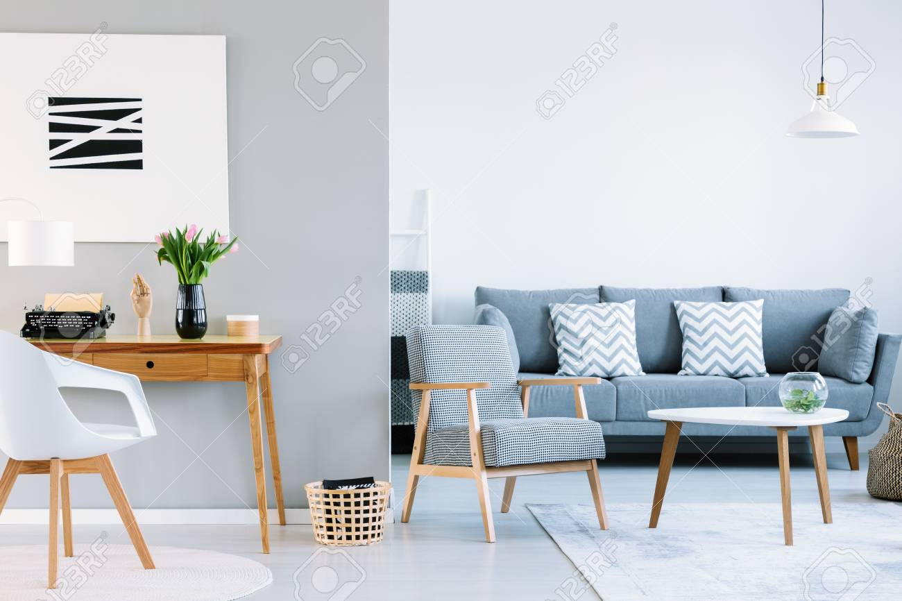 Real Photo Of A Living Room Interior With Study Space Typewriter
