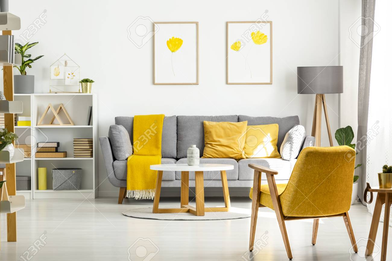 Yellow Wooden Armchair And Table In Living Room Interior With