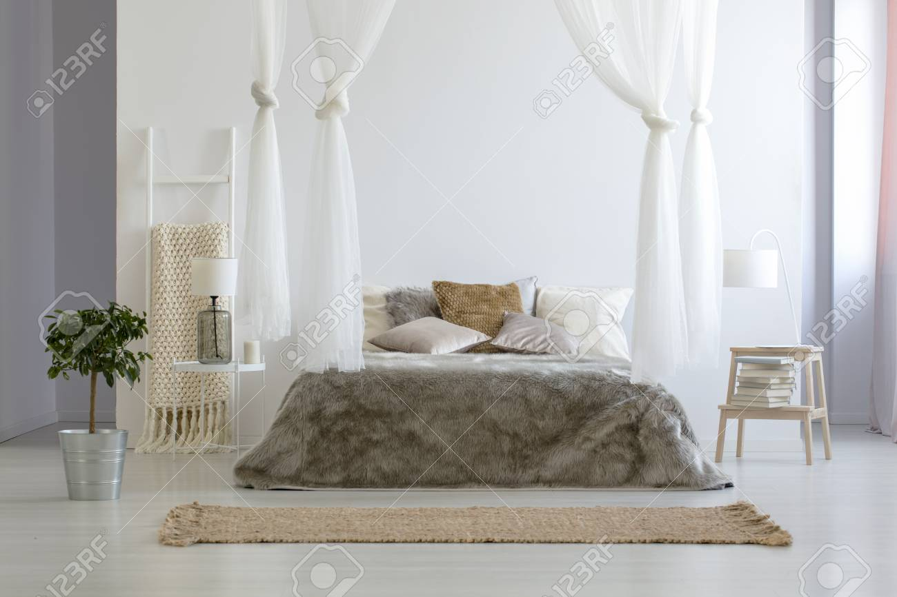 Plant Next To Brown Canopied Bed In Minimal Bedroom Interior Stock Photo Picture And Royalty Free Image Image 106223962