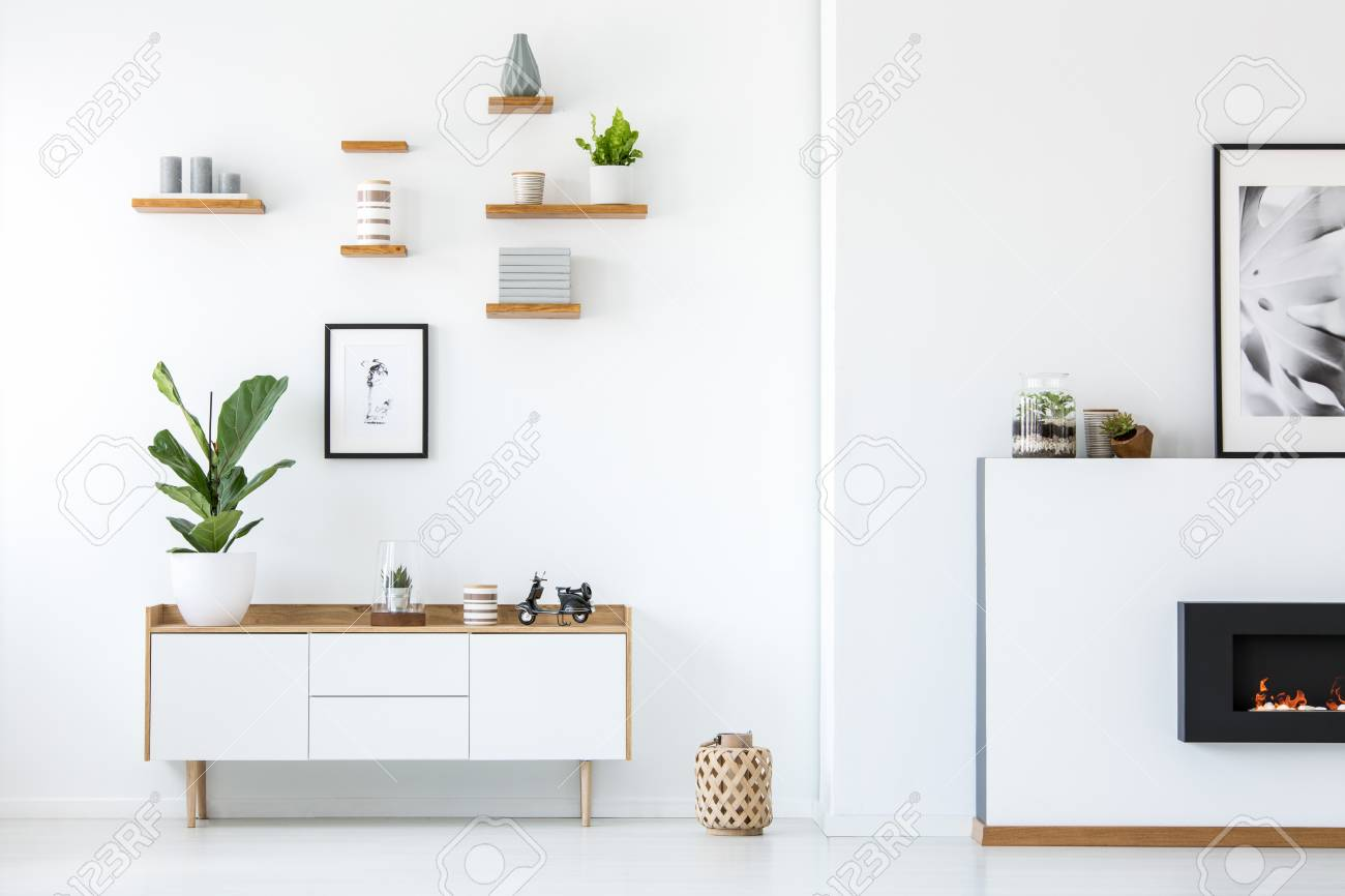 Plant on wooden white cupboard in apartment interior with posters and fireplace. Real photo - 106222880