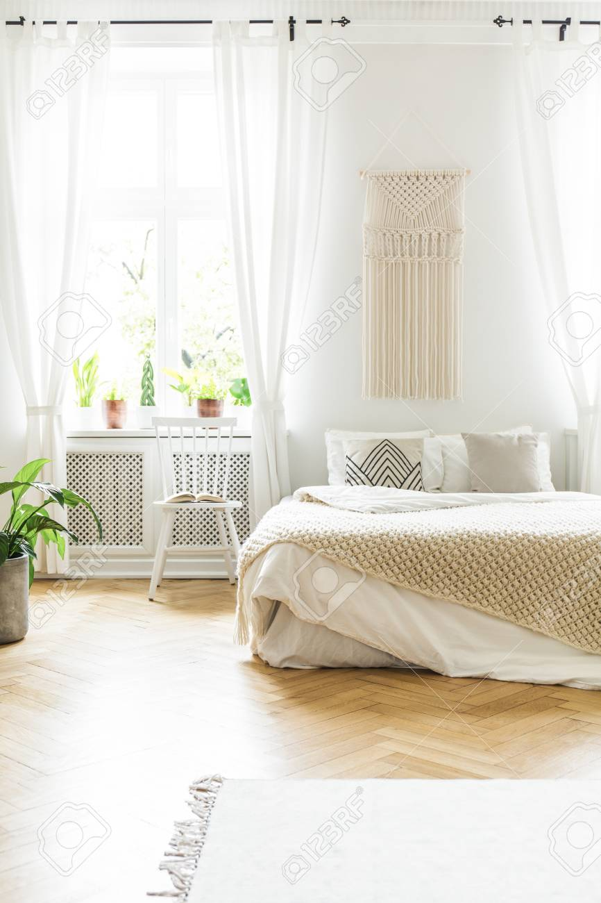 Swell White Chair Next To Bed In Scandinavian Bedroom Interior With Spiritservingveterans Wood Chair Design Ideas Spiritservingveteransorg
