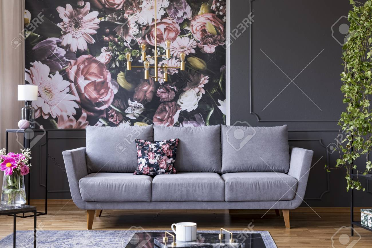 Grey Lounge With Patterned Cushion In Real Photo Of Dark Living