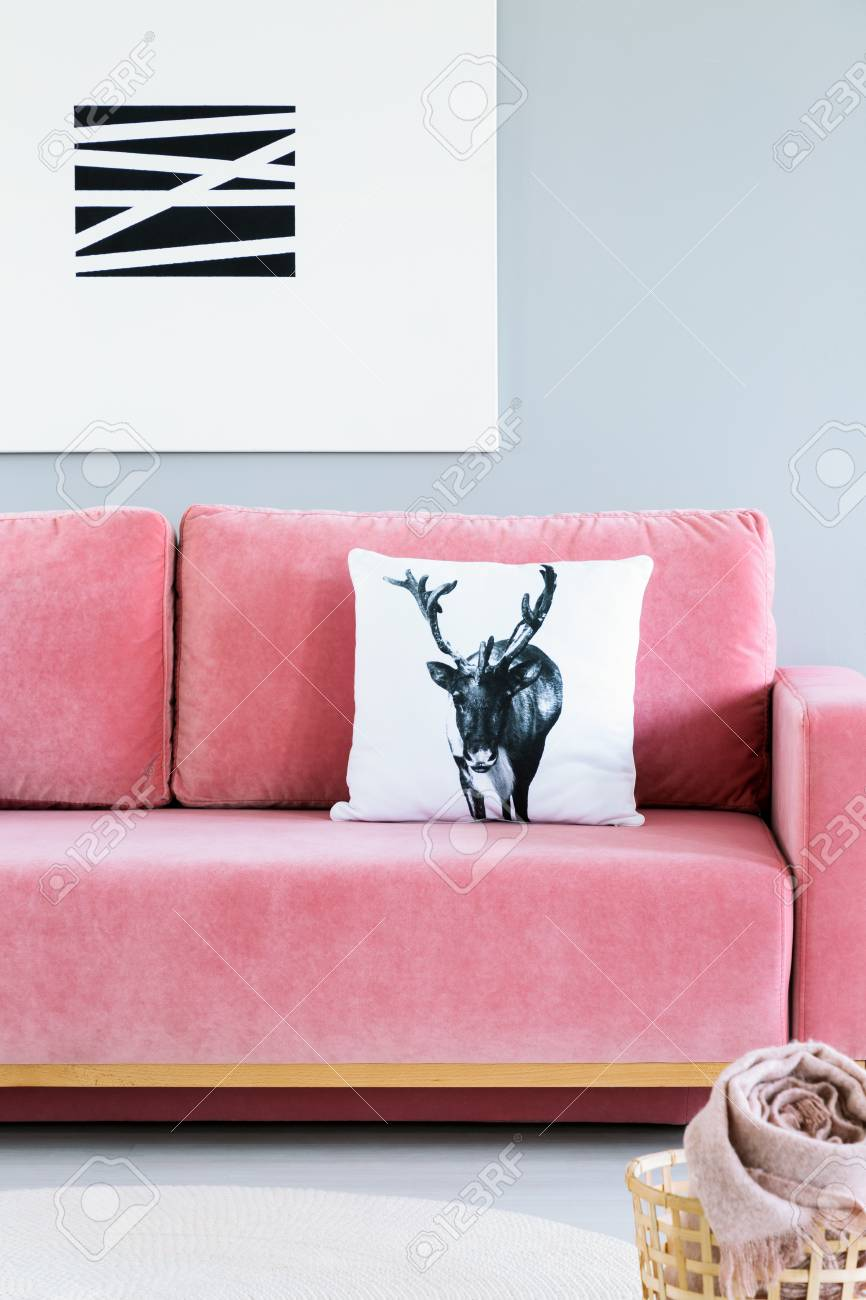 Photo Pillow With Deer Case Placed On Pink Velvet Sofa In The Real Photo Of  Bright
