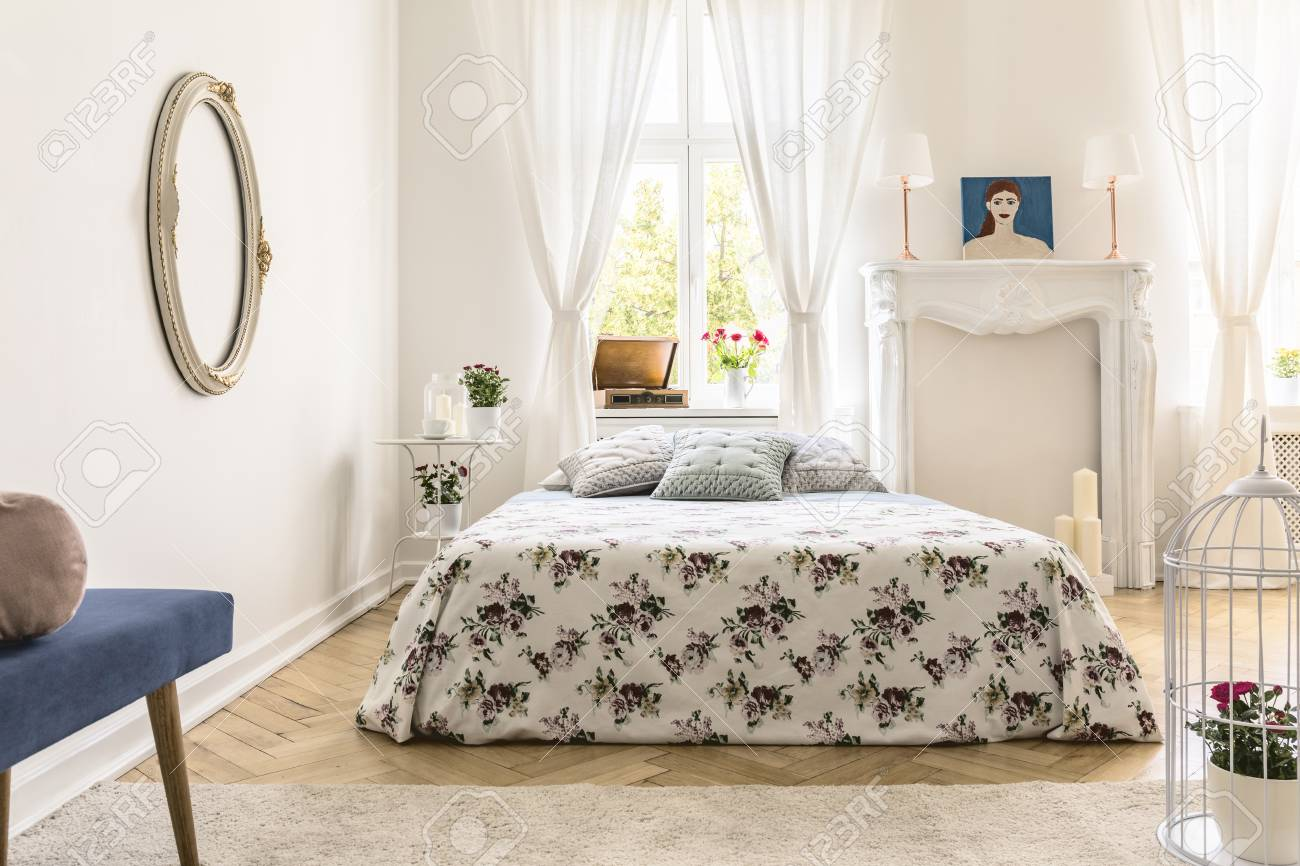 Real Photo Of English Style Bedroom Interior With King Size Bed