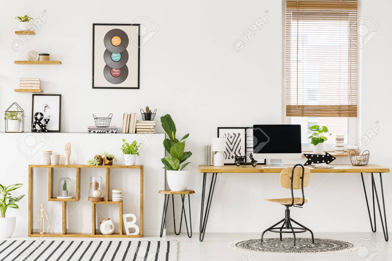 Hipster, white home office interior with natural, wooden furniture,..