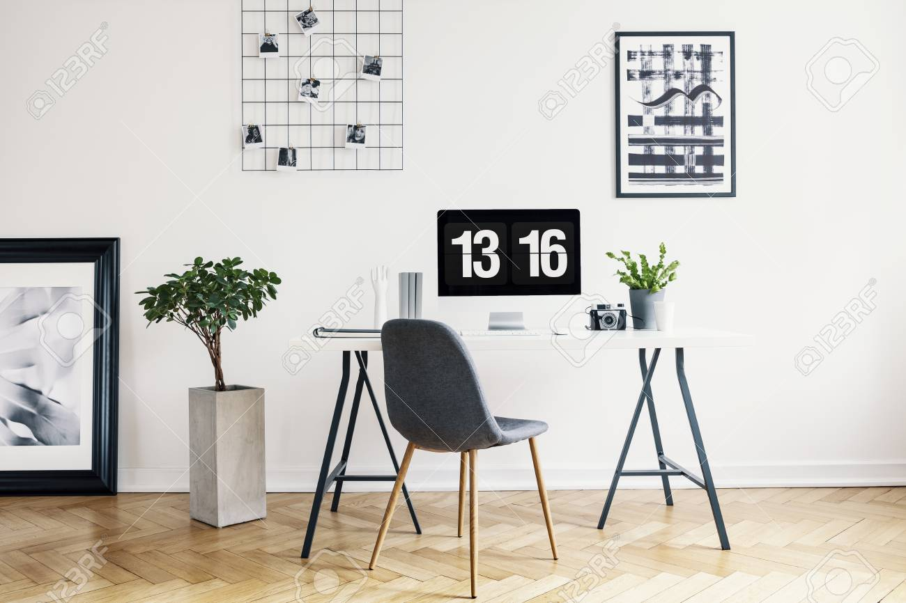 Real Photo Of A Modern Home Office Interior With A Desk Chair Stock Photo Picture And Royalty Free Image Image 107018475