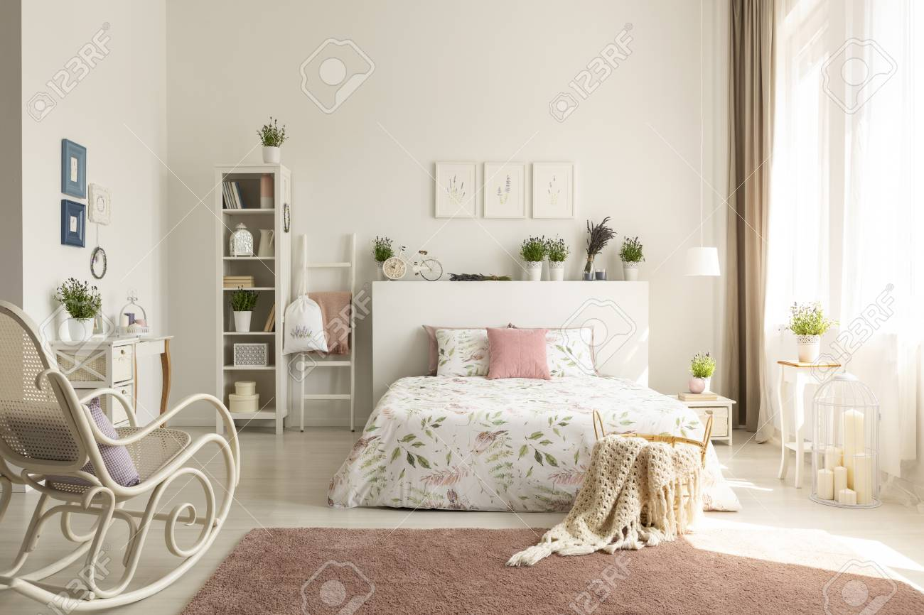 White Bedroom Interior With Dirty Pink Carpet, Rocking Chair ...