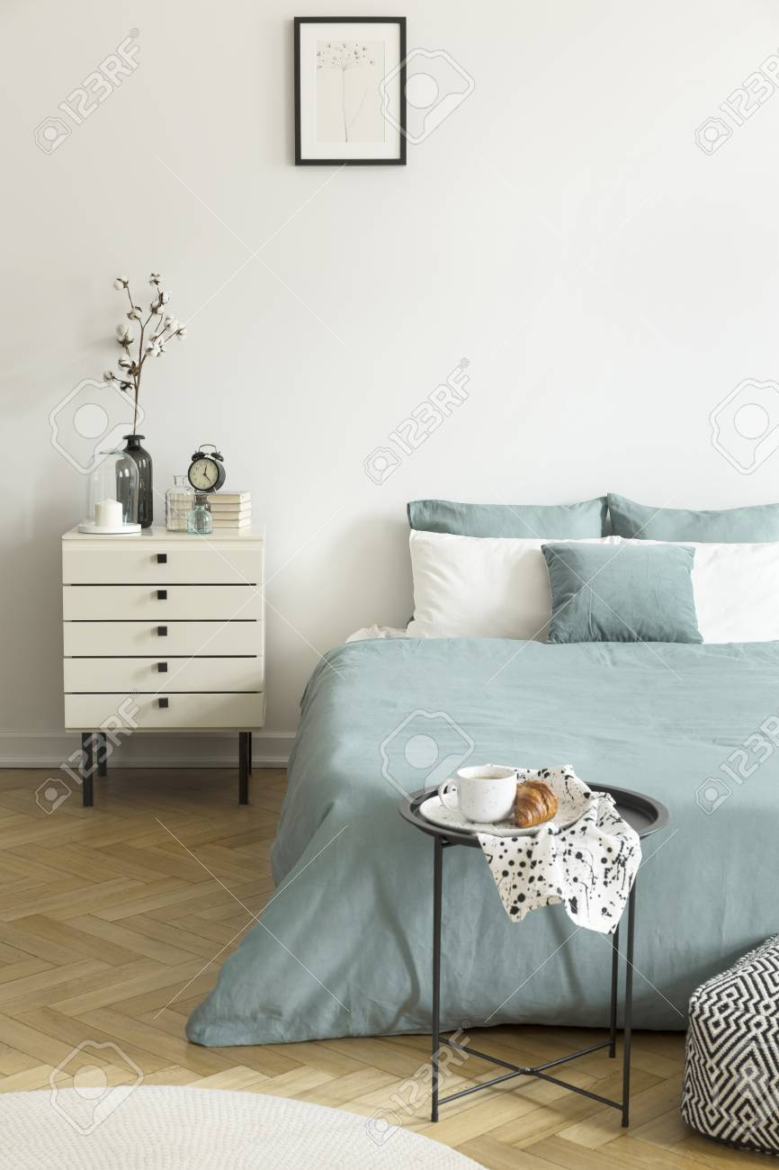 Real Photo Of A Woman S Bedroom Interior With White Walls Parquet Stock Photo Picture And Royalty Free Image Image 107535241