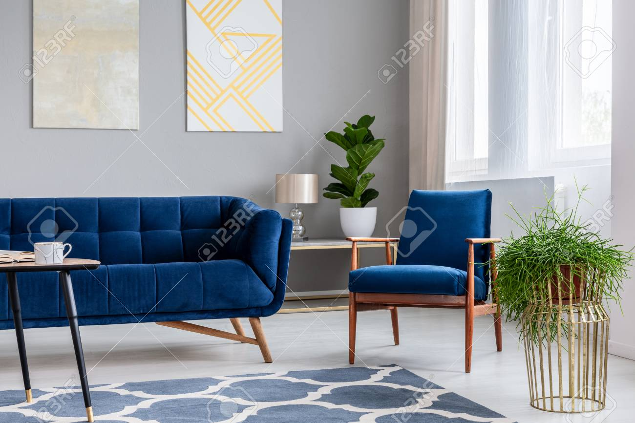 Navy blue armchair standing next to sofa in real photo of bright living room interior with