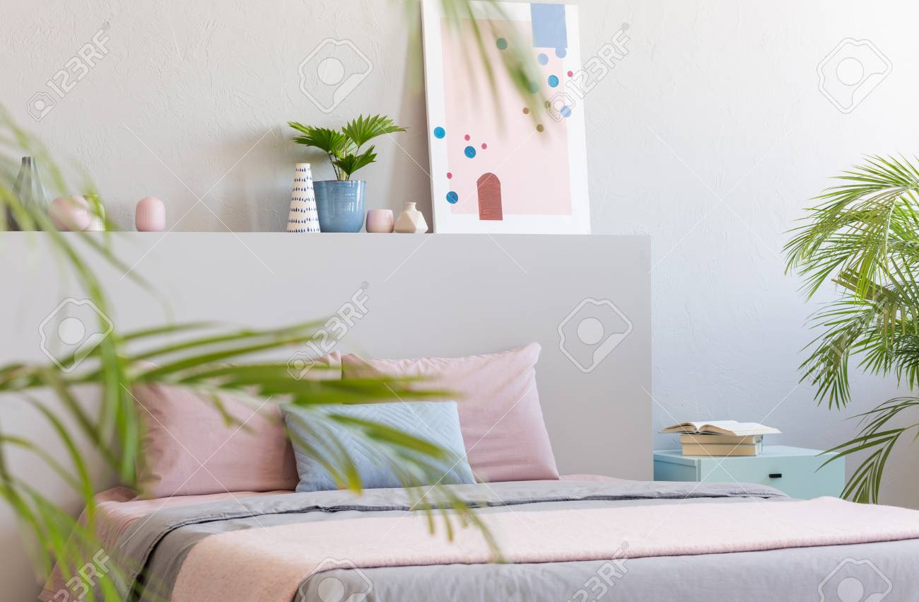Real Photo Of Bright Bedroom Interior With Decor Double Bed Stock Photo Picture And Royalty Free Image Image 107760848