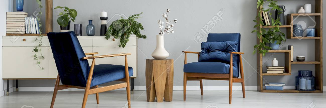 Royal Blue Armchair With Cushion In Real Photo Of Bright Living