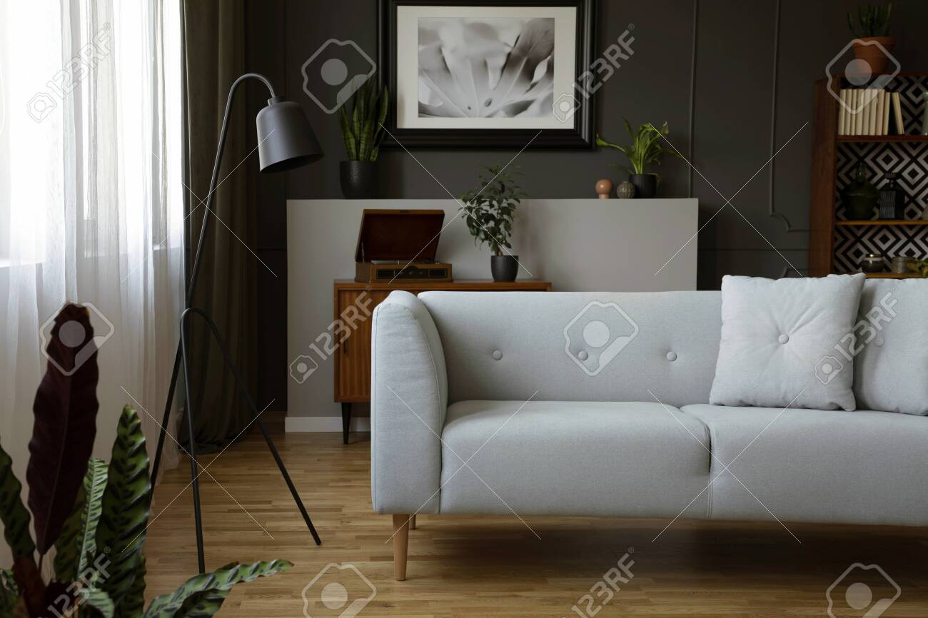 Real Photo Of Dark Living Room Interior With Grey Sofa Metal