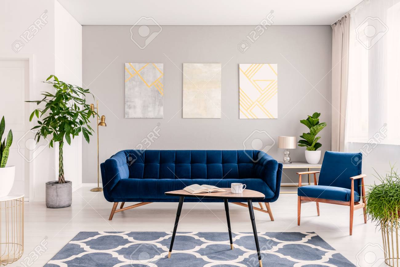 Elegant Living Room Interior With A Set Of Dark Blue Sofa And Stock Photo Picture And Royalty Free Image Image 108185179