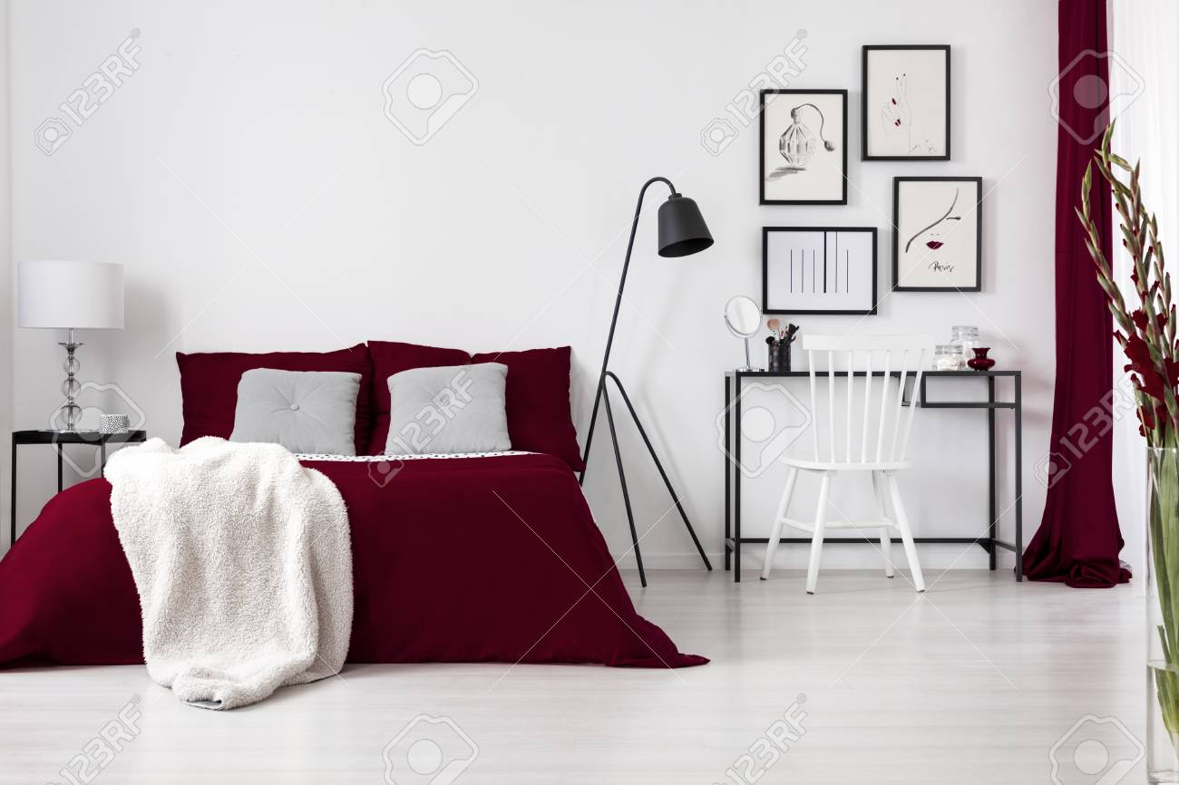 Contrast Colors, White, Burgundy And Black In A Modern Bedroom ...