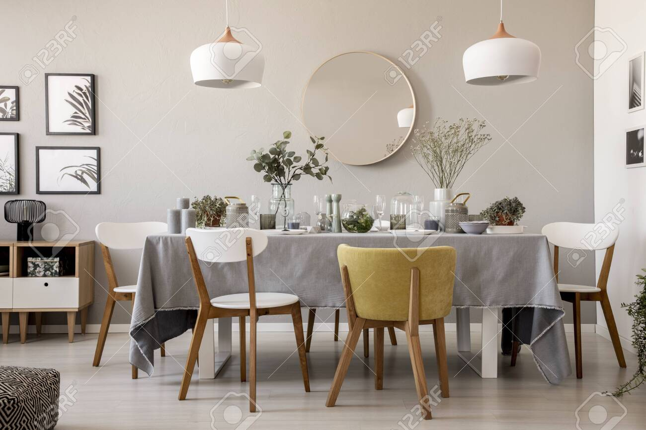 Wooden Chairs At Table With Tableware In Dining Room Interior Stock Photo Picture And Royalty Free Image Image 109343954