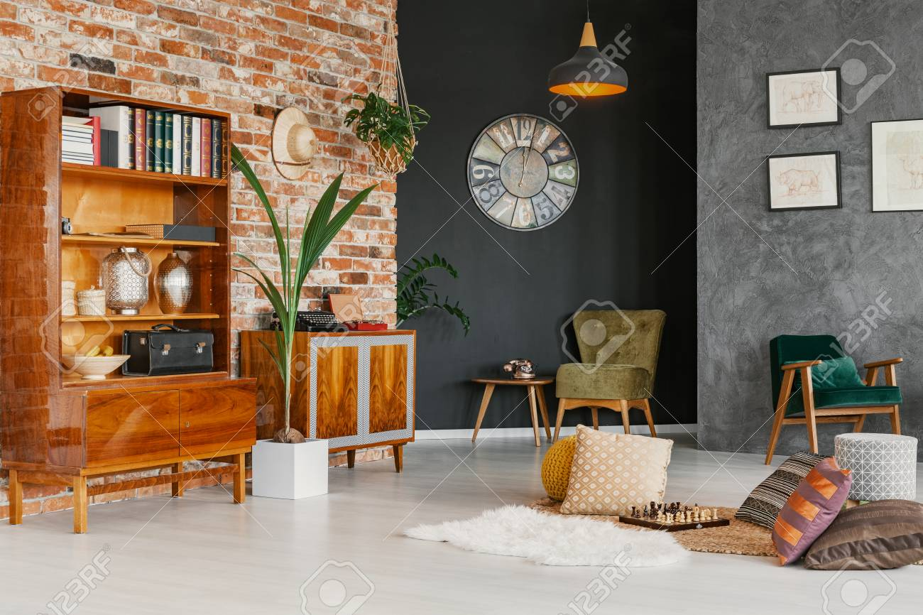 Real Photo Of Living Room Interior With Different Walls Fresh